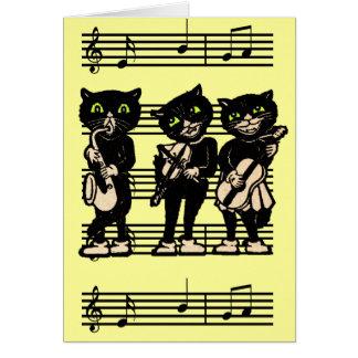 Carte de note musicale de chats noirs
