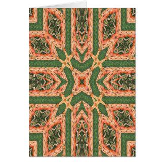 Carte de note orange et verte d'édredon