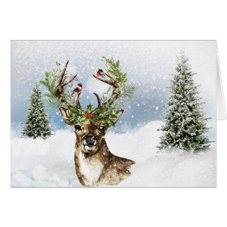 Carte de note polyvalente de Noël de cerfs communs