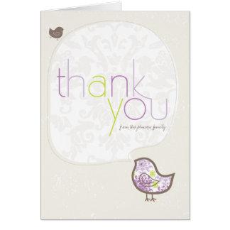 Carte de note pourpre de Merci de bébé de poussins