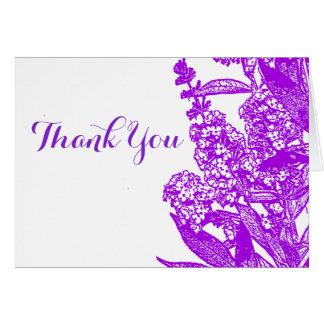 Carte de note pourpre romantique de Merci de fleur