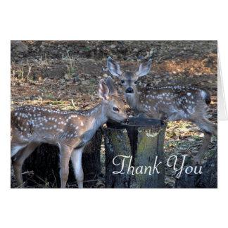 Carte de note repérée adorable de Merci de faons