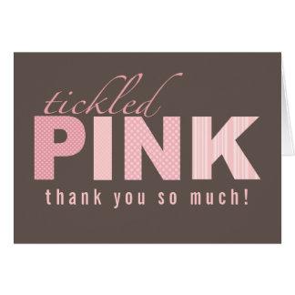 Carte de note rose chatouillée de Merci de bébé