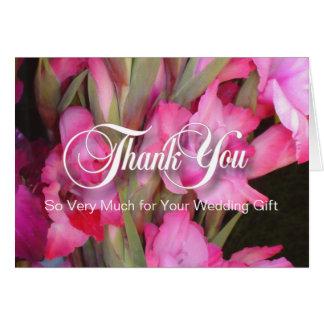 Carte de note rose de blanc de Merci de Glads