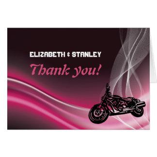 Carte de note rose de Merci de mariage de cycliste