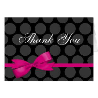 Carte de note rose et noire de Merci d'arc de poin