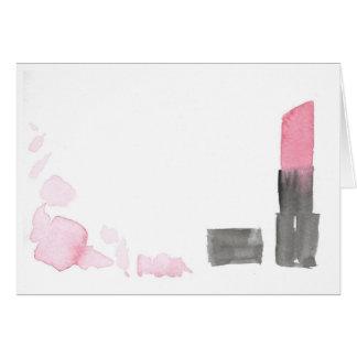 Carte de note rose-foncé de rouge à lèvres