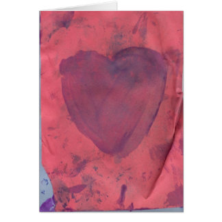 Carte de note rouge d'aquarelle de coeur