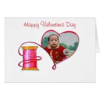 Carte de note rouge de Valentine de fil