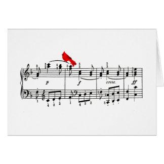 Carte de note rouge d'oiseau et de musique