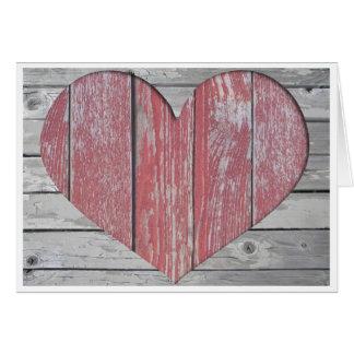 Carte de note rustique de coeur