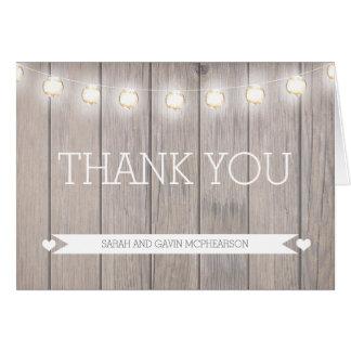 Carte de note rustique de Merci de lumières