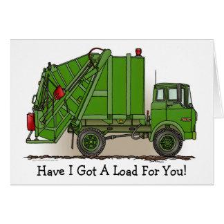 Carte de note verte de camion à ordures