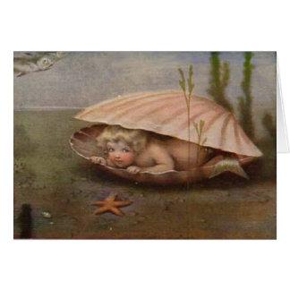 Carte de note vintage de bébé de sirène
