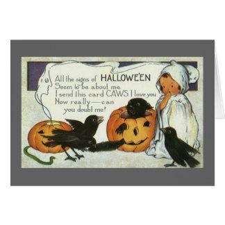 Carte de note vintage de Halloween de fantôme