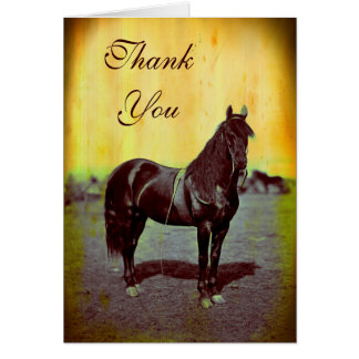 Carte de note vintage de Merci de cheval des