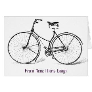 Carte de note vintage personnalisée de bicyclette