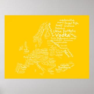 Carte de nourriture de l'Europe (jaune) Affiche
