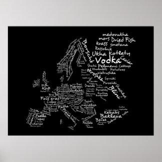 Carte de nourriture de l'Europe (noir) Affiche