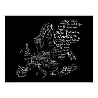Carte de nourriture de l'Europe (noir) Posters