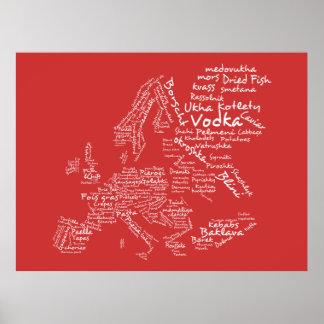 Carte de nourriture de l'Europe (rouge) Poster