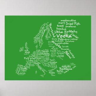 Carte de nourriture de l'Europe (vert) Poster