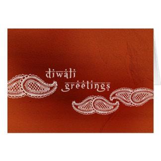 Carte de Paisleys Diwali de rouge de brique