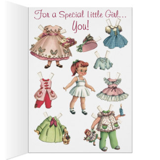 Carte de papier vintage de Joyeux Noël de poupées