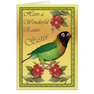 Carte de Pâques avec la soeur noire de perruche de