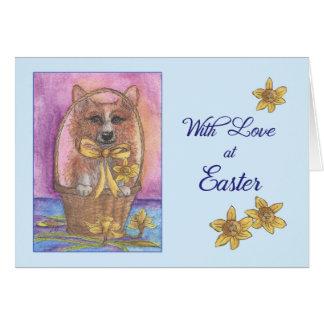 Carte de Pâques avec l'amour, le chien de corgi et