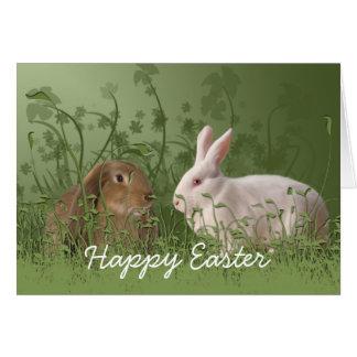 Carte de Pâques de deux lapins