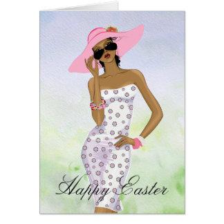 Carte de Pâques de femme d'Afro-américain