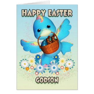 Carte de Pâques de filleul - canard mignon avec le