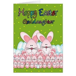 Carte de Pâques de filleule avec des lapins de