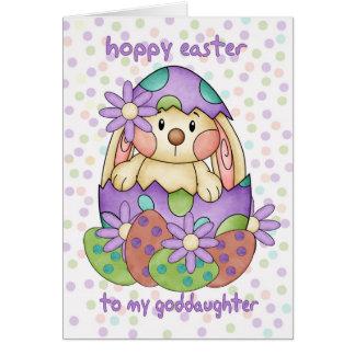Carte de Pâques de filleule avec le lapin de