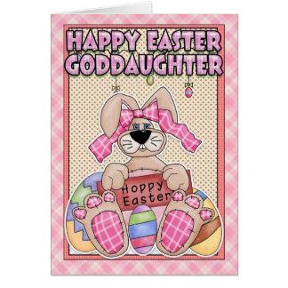 Carte de Pâques de filleule - lapin de Pâques et