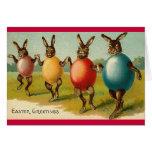 Carte de Pâques de lapins de danse