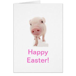 Carte de Pâques de porc de porcelet de bébé