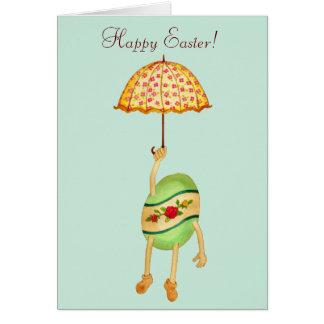 Carte de Pâques d'oeufs et de parapluie