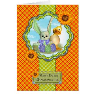 Carte de Pâques mignonne de petite-fille avec le
