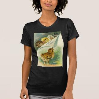 Carte de Pâques vintage de poussins de Pâques T-shirt