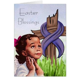 Carte de Pâques vintage d'enfant d'Afro-américain
