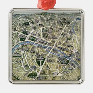 Carte de Paris au cours de la période des Grands Ornement Carré Argenté