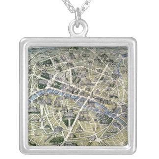 Carte de Paris pendant les 'Grands Travaux Pendentif Carré