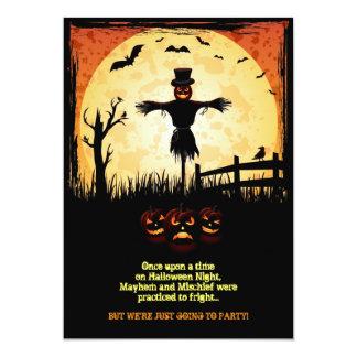 Carte de partie de Halloween de clair de lune Carton D'invitation 12,7 Cm X 17,78 Cm