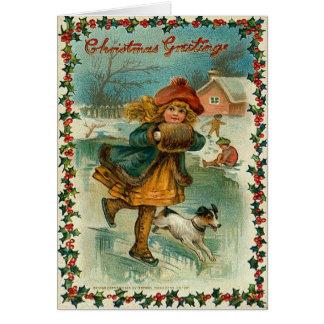 Carte de patinage de glace de Noël