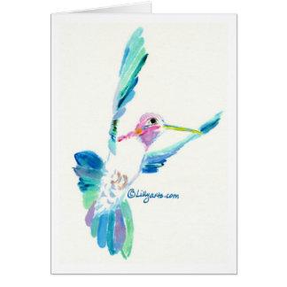 Carte de peinture de beaux-arts de vol de colibri