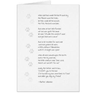 Carte de perte de chien de sympathie - poème de