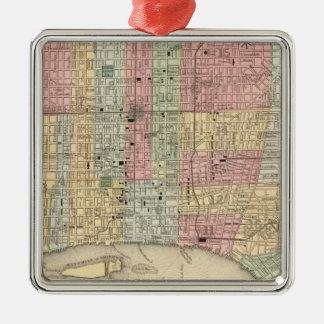 Carte de Philadelphie par Mitchell Ornement Carré Argenté