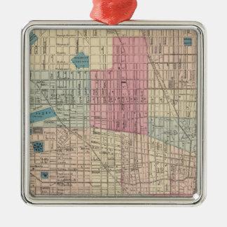 Carte de Philadelphie, Pennsylvanie Ornement Carré Argenté